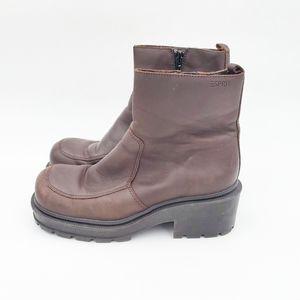 Vintage Espirit leather heeled ankle booties